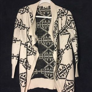 TIMING TAN WITH BLACK PATTERN CARDIGAN